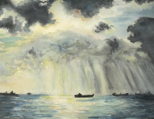 La tempête, Port de bouc, aquarelle, Tous droits réservés Arlette Béal
