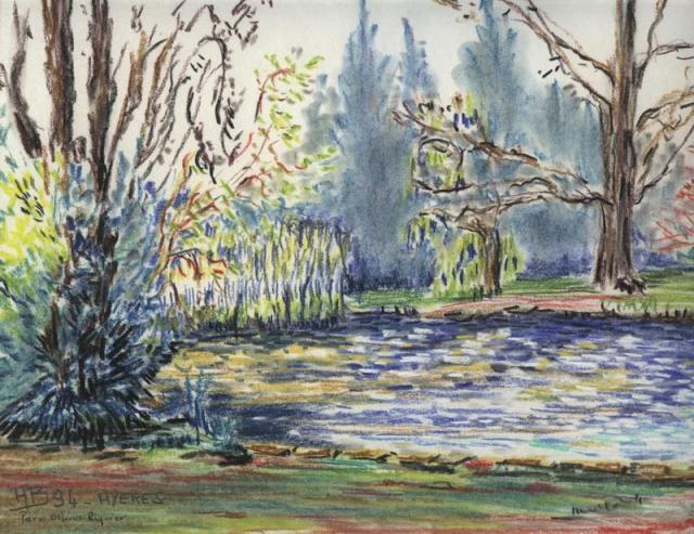 l'étang du Parc Olbius Riquier, Hyères, pastel