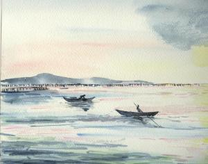 les pêcheurs de coquillage, Etang de Thau, Sète, aquarelle