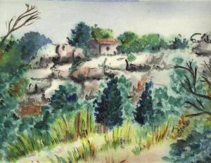 un chemin menant à la Tour Magne, Nîmes, aquarelle