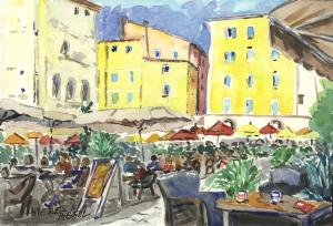 place Massillon, Hyères, aquarelle