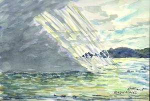 le brouillard Porquerolles, aquarelle