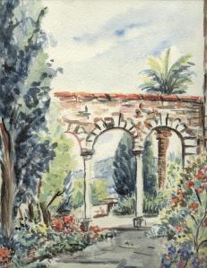 parc Sainte Claire, Hyères,aquarelle