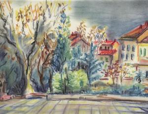 Place Clémenceau, Hyères,pastel