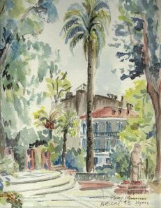 Place Clémenceau, Hyères,aquarelle