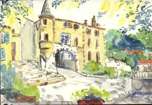Collégiale Saint Paul, Hyères, aquarelle