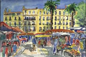 le  marché, Place Clémenceau, Hyères, aquarelle