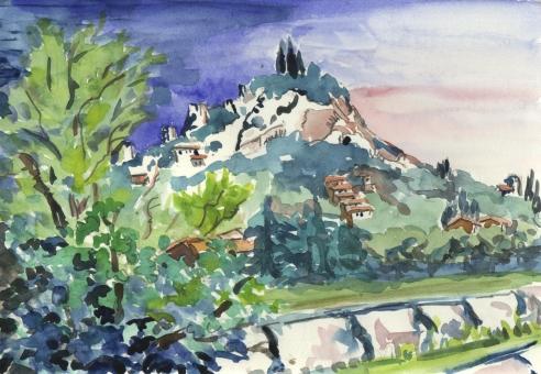 Colline du château à Hyères. Aquarelle Arlette Béal. Tous droits réservés.