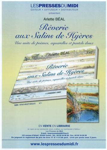 """affiche du livre """"Rêveries aux salins de Hyères""""de Arlette Béal édité par Les Presses duMidi"""