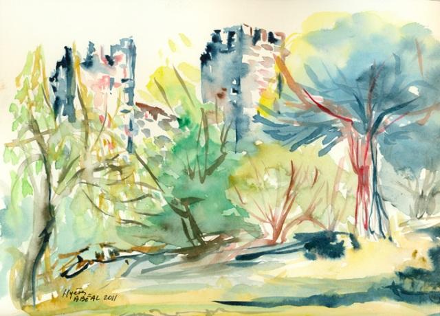 Le château de Hyères, lumière de fin de l'été, aquarelle