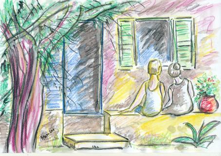 les amoureux de la vieille maison, esquisse, crayons aquarellables. Tous droits réservés