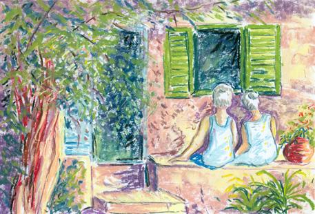 les amoureux de la vieille maison, pastel doux. Tous droits réservés.