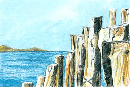 De bois et d'eau, Presqu'île de Giens, Hyères, pastel doux.