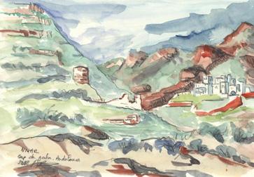 Nijar, Cap de Gata, Espagne, aquarelle et crayon