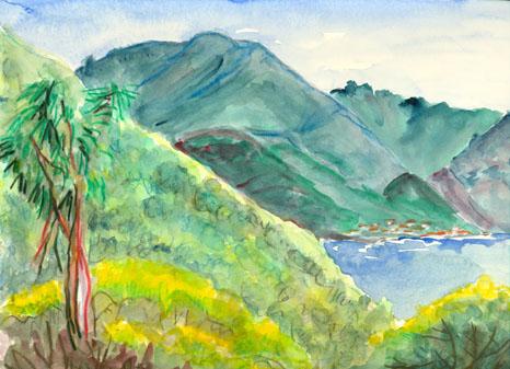 Vue sur le village de Galéria à partir de de la Punta Cuitonne, Corse, aquarelle, Tous droits réservés.