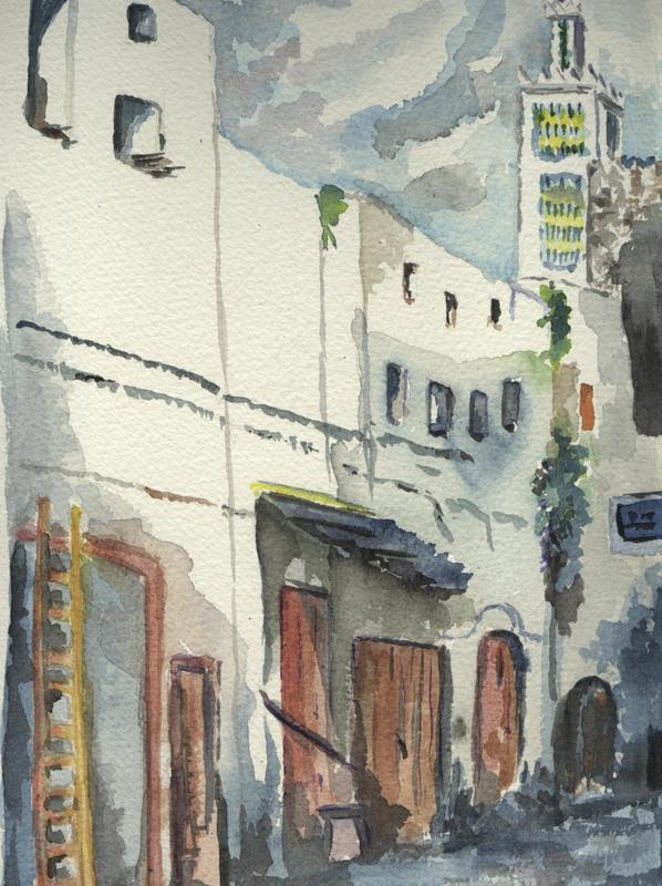 Tétouan, Maroc,1985,aquarelle