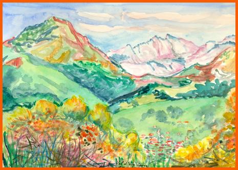 Val d'Ese ou la montagne Corse, aquarelle. Tous droits rése
