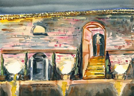 Le château de Saint Martin,  domaine viticole à Taradeau, Var, aquarelle