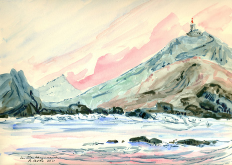 Les îles Sanguinaires. Corse.aquarelle.Tous droits réservés.