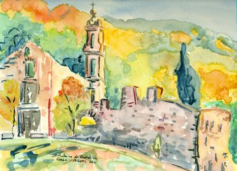 Monastère de Saint Antoine de Bastelica, Corse, aquarelle. Tous droits réservés.