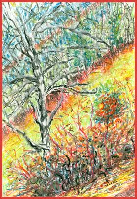 Noyarey, Isère, quand la nature hésite entre hiver et automne, pastel à l'huile