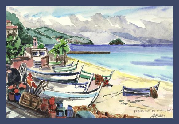 République de Noli, Italie, aquarelle. tous droits réservés