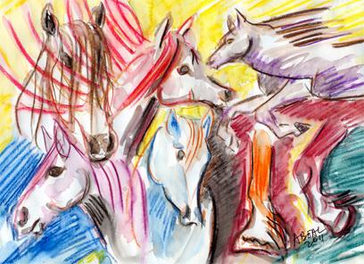 Les chevaux de Noël, crayons aquarellables. Tous droits réservés