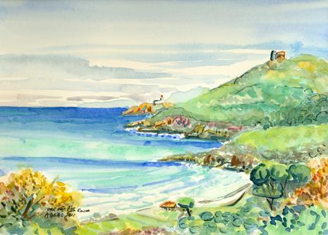 vue sur l'île Rousse,aquarelle,. Tous droits réservés