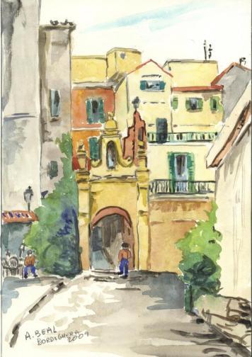 Bordighera, Italie, aquarelle, Tous droits réservés