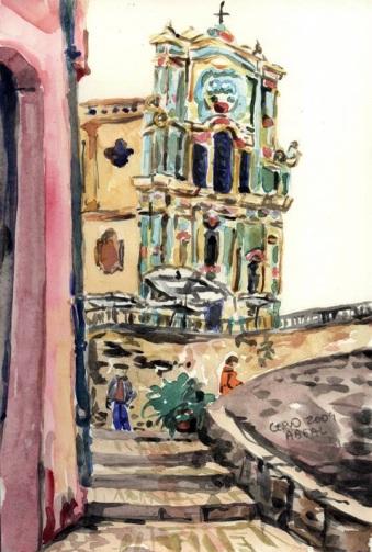 Un hiver en Italie, Cervo, aquarelle, tous droits réservés