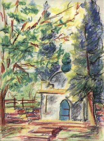 Marabout dans le parc de la Villa Aurélienne à Fréjus. Pastel. Tous droits réservés
