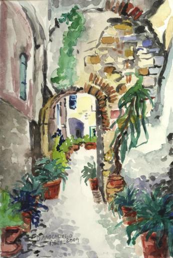 Diano Castello, Italie, aquarelle, tous droits réservés.