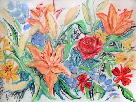 Les fleurs fées, pastel. Tous droits réservés