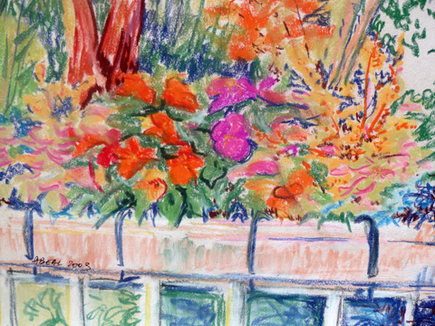 Jardinières fleuries, pastels doux, tous droits réservés
