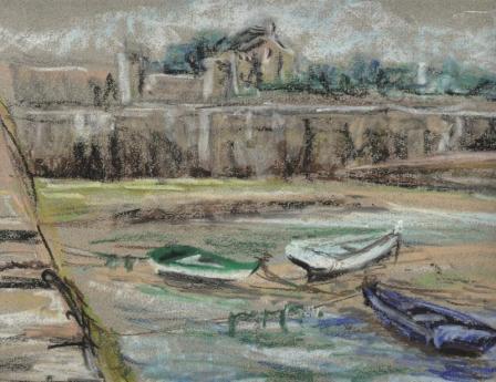 Les barques d'hiver, presqu'île de Quiberon, Bretagne, pastel, tous droits réservés