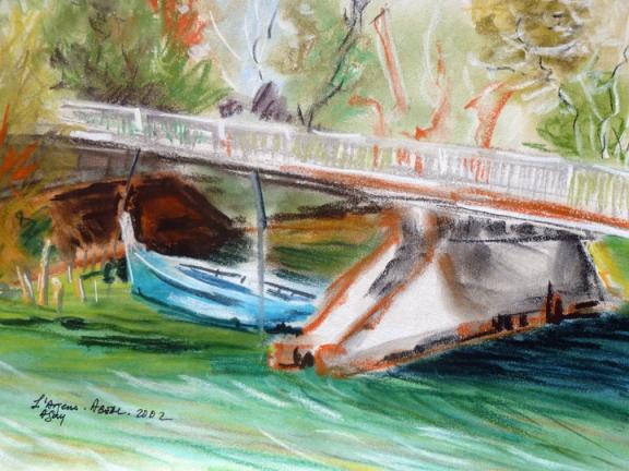 La barque au pont sur l'Argens, Agay, Fréjus. Pastel. Tous droits réservés