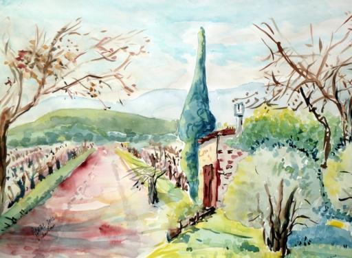 un cabanon des vignes à Vidauban. aquarelle. Tous droits réservés