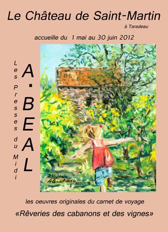 affiche de l'exposition au Château de Saint-Martin des oeuvres de Arlette Béal sur le thème des cabanons des vignes