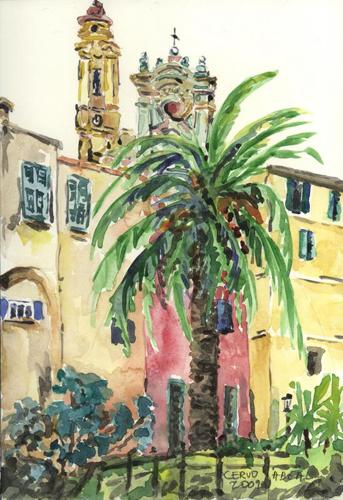 Cervo et sa basilique, Ligurie, Italie, aquarelle. Tous droits réservés
