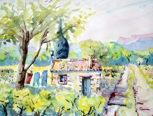 Petit cabanon des vignes, Garéoult, Var. aquarelle.Tous droits réservés