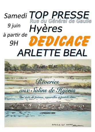 """Affiche de dédicace , Arlette Béal, TOP PRESSE à Hyères, """"Rêveries aux Salins de Hyères"""""""