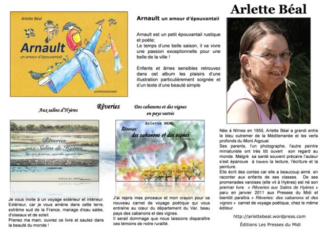 """Biographie Arlette Béal réalisée par l'association littéraire """"Plumes d'Azur"""