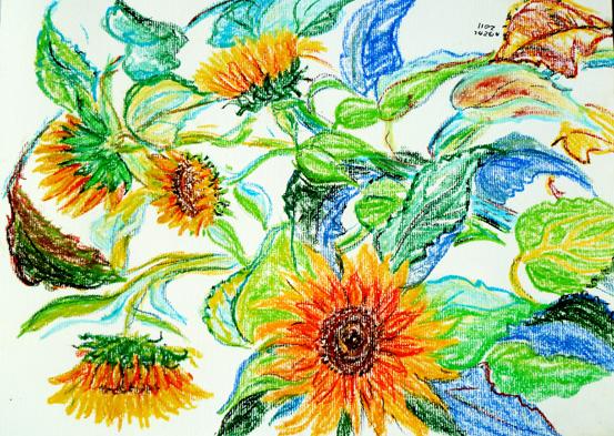 Tournesols, pastels à l'huile, Arlette Béal, Tous droits réservés