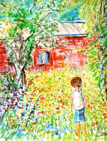 L'enfant du cabanon rouge, pastel à l'huile sur papier Ingres, Stampia, Arlette Béal,Tous droits réservés
