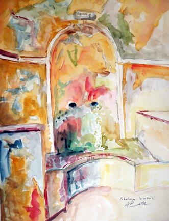 fontaine d'Erbalunga, Corse, aquarelle, Tous droits réservés.Arlette Béal