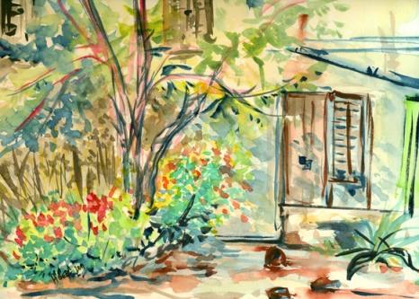 La vieille maison, aquarelle, Hyères, Arlette Béal, Tous droits réservés
