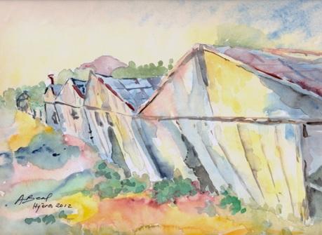 La lente chute des serres abandonnées, aquarelle, Hyères, Arlette Béal. Tous droits réservés