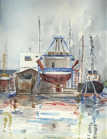 chantier naval au Grau du Roi, Gard, aquarelle, Arlette Béal, tous droits réservés