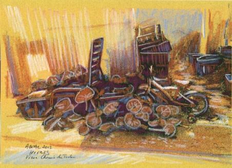 Le triomphe des courges, domaine agricole, Hyères, encre et pastel de Arlette Béal. Tous droits réservés