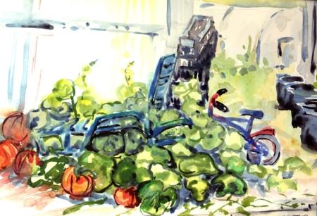 Au pays des serres, chaise longue, courge et tricycle, Hyères, aquarelle. Tous droits réservés. Arlette Béal
